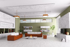 Interior of modern living room. With two sofas and fireplace Stock Photography