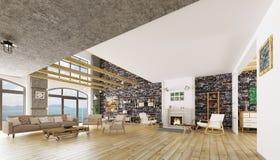 Interior of modern loft apartment 3d render Royalty Free Stock Photo