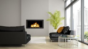 Interior of modern  loft with fireplace and black sofa 3D render Stock Images