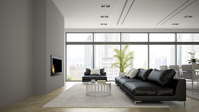 Interior of modern  loft with fireplace and black sofa 3D render Stock Photo