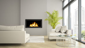 Interior  of modern  loft with fireplace and palm 3D rendering Royalty Free Stock Image