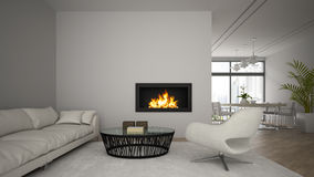 Interior of modern  loft with fireplace and white sofa 3D render Stock Photography
