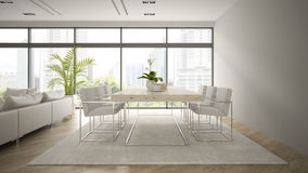 Interior of modern  loft with palm 3D rendering Stock Photos