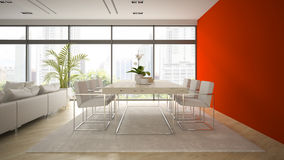 Interior  of modern  loft with red wall 3D rendering Royalty Free Stock Photos