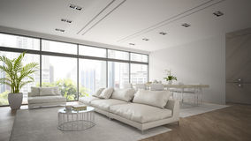 Interior of modern  loft with white sofa 3D rendering Royalty Free Stock Photography