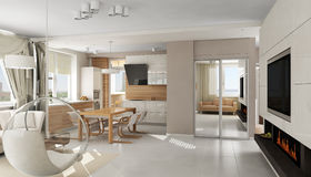 Interior of modern luxury apartment royalty free illustration