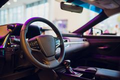 The interior of a modern luxury sports car. royalty free stock image