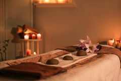 Interior of modern massage room. In candle light royalty free stock images