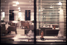 Interior of modern nigt club or restaurant. Toned photo stock images