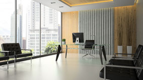 Interior of the modern office with glass table 3D rendering 6 Royalty Free Stock Photo