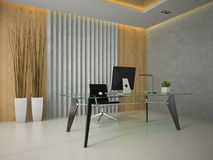 Interior of the modern office with glass table 3D rendering 2 Royalty Free Stock Photography