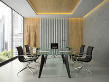 Interior of the modern office with glass table 3D rendering 4 Royalty Free Stock Images