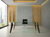 Interior of the modern office with glass table 3D rendering Royalty Free Stock Images