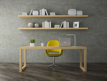 Interior of modern office room  with yellow armchair 3D rendering. Interior of modern office room with yellow armchair 3D rendering Stock Images