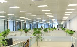 Modern office interior. Interior of modern office, working place, office space with equipment Royalty Free Stock Image
