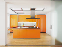 Interior of modern orange kitchen Stock Images
