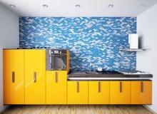 Interior of modern orange kitchen 3d Stock Photos