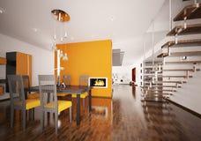 Interior of modern orange kitchen 3d render. Interior of modern orange kitchen with fireplace 3d render Stock Photos