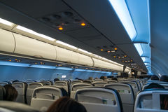 Interior of a Modern Passenger Jet Airplane Royalty Free Stock Photography