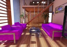 Interior of a modern penthouse. With a purple set, a screen and stairs Royalty Free Stock Photography