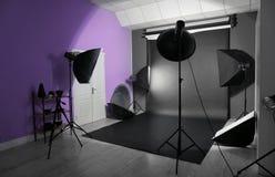 Interior of modern photo studio with equipment. Interior of modern photo studio with professional equipment stock image