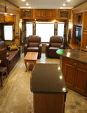 Interior of Modern Recreational Vehicle. Interior of a Modern Recreational Vehicle with leather and granite Royalty Free Stock Images