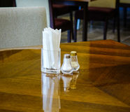 Interior of modern restaurant. With wooden tables. Close up Royalty Free Stock Images