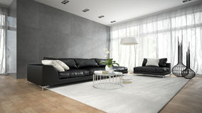 Interior of modern room with black couch 3D rendering 2 Stock Images