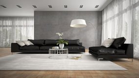 Interior of modern room with black couch 3D rendering Stock Photo