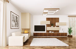 Interior of modern room 3d render Stock Photo