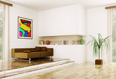 Interior of modern room 3d render Royalty Free Stock Images