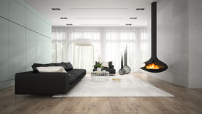Interior of modern room with fireplace 3D rendering Royalty Free Stock Photo