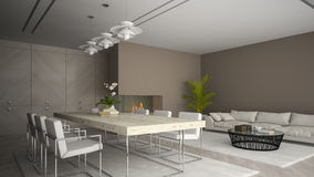 Interior of modern room with fireplace and palm 3D rendering 2 Stock Photos