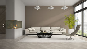 Interior of modern room with fireplace and palm 3D rendering 3 Stock Photography