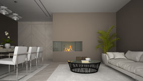 Interior of modern room with fireplace and palm 3D rendering Stock Photography