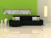 Interior of the modern room,green wall,black sofa Royalty Free Stock Photos