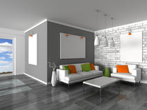 Interior of the modern room, grey wall and white s. 3d render interior of the modern room, grey wall and white sofas Royalty Free Stock Images