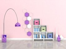 Interior of the modern room, pink wall Stock Photo