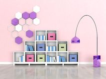 interior of the modern room, pink wall Royalty Free Stock Images