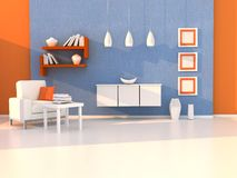 Interior of the modern room, study room. 3d rendering Stock Photo