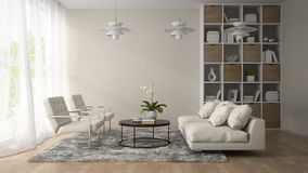 Interior of modern room  with three white lamps 3D rendering Royalty Free Stock Image