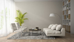 Interior of modern room  with white armchair and sofa 3D renderi Stock Photography