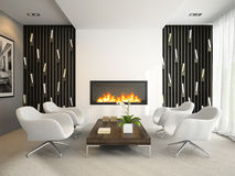 Interior of modern room with white armchairs Royalty Free Stock Images