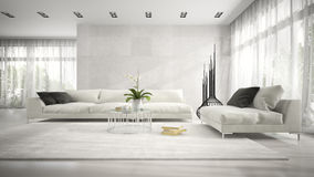 Interior of modern room with white couch 3D rendering. Interior of  modern room with white couch 3D rendering Royalty Free Stock Photography