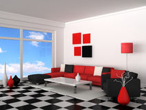 Interior of the modern room, white wall Royalty Free Stock Photos