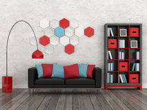 Interior of the modern room, white wall, black sof Royalty Free Stock Photography