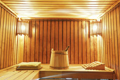 Interior of modern sauna cabin Royalty Free Stock Images