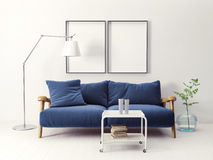 Interior. Modern scandinavian  interior. sofa in living room. 3d render. 3d illustration Royalty Free Stock Image