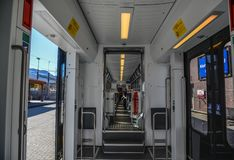 Interior of a modern scenic train royalty free stock photos