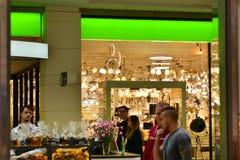 Interior of modern shopping center Arkadia. stock photos